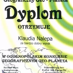"""OGÓLNOPOLSKI KONKURS GEOGRAFICZNY """"GEO-PLANETA PLUS """" 2016/2017"""