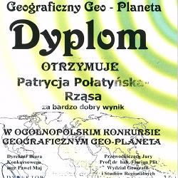 """OGÓLNOPOLSKI KONKURS GEOGRAFICZNY """"GEO-PLANETA 2015/2016"""""""